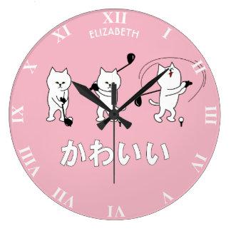 Grande Horloge Ronde Kitty mignon jouant le mot de Kawaii de golf dans