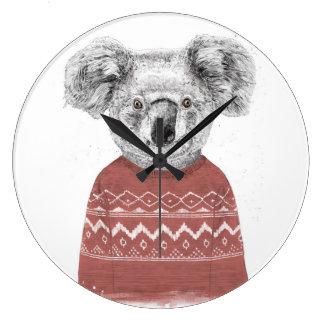 Grande Horloge Ronde Koala d'hiver (rouge)