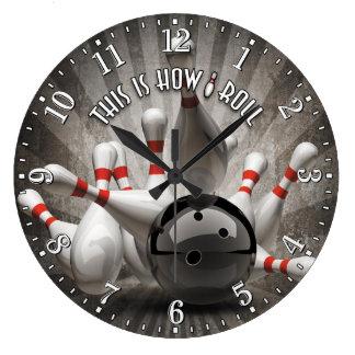 Grande Horloge Ronde La boule de bowling goupille l'horloge murale de