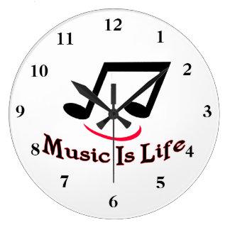 Grande Horloge Ronde La musique est smiley de note musicale de la vie