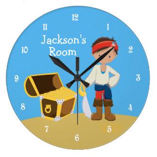 Grande Horloge Ronde La pièce du garçon fait sur commande de pirate