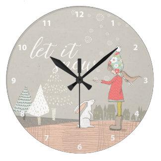 Grande Horloge Ronde Laissez lui neiger fille et lapin