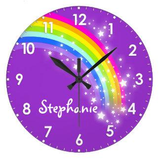 Grande Horloge Ronde L'amusement badine l'horloge murale de pourpre de