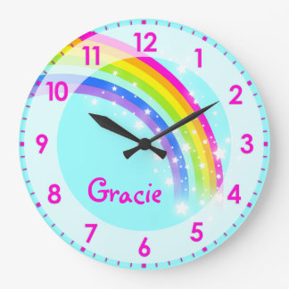 Grande Horloge Ronde L'amusement badine l'horloge murale de rose d'aqua