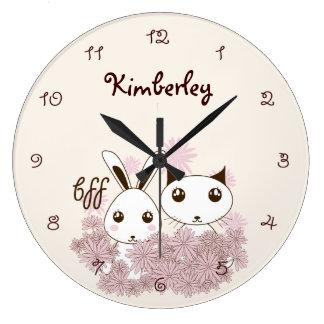 Grande Horloge Ronde L'animal mignon de meilleurs amis de fille badine