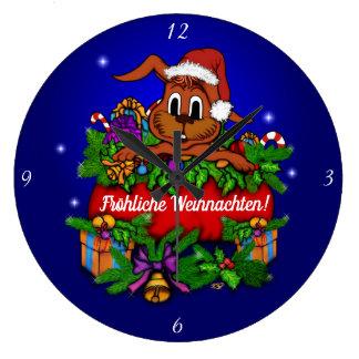 Grande Horloge Ronde Lapin de Noël, Noël joyeux !