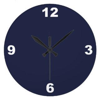 Grande Horloge Ronde Le blanc bleu et grand de minuit numérote