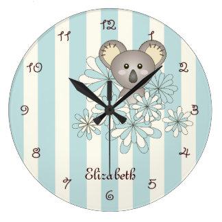 Grande Horloge Ronde Le bleu en pastel de koala animal mignon de bébé