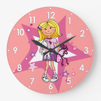 Grande Horloge Ronde le cadeau de filles d'enfant caresse l'horloge
