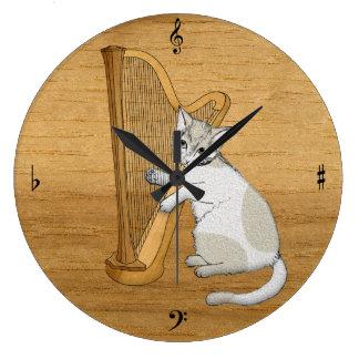 Grande Horloge Ronde Le chat musical joue l'harpe