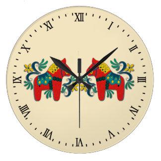 Grande Horloge Ronde Le cheval de Dala de Suédois jumelle le Scandinave