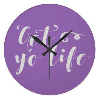 Grande Horloge Ronde Le gris obtiennent votre typographie de la vie