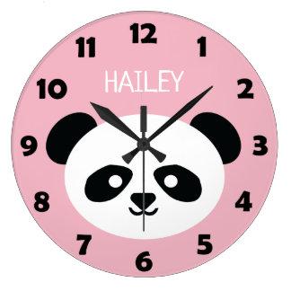 Grande Horloge Ronde Le visage mignon d'ours panda badine le rose