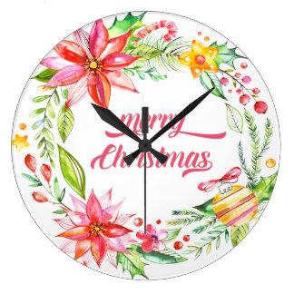 Grande Horloge Ronde Les fleurs tressent le Joyeux Noël de typographie