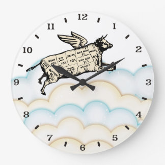 Grande Horloge Ronde Les nuages pilotant la vache s'envole l'horloge de