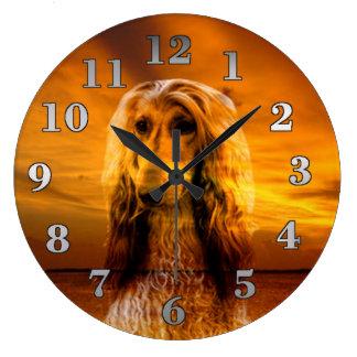 Grande Horloge Ronde Lévrier afghan de chien