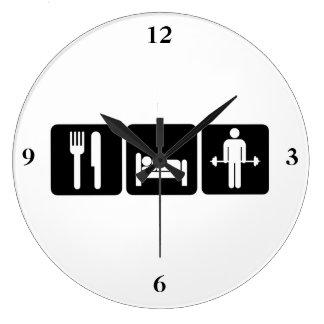 Grande Horloge Ronde L'homme mangent des poids d'ascenseur de sommeil