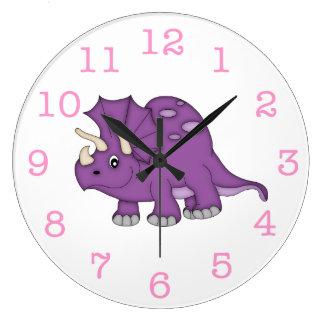 Grande Horloge Ronde L'horloge murale/nombres roses de l'enfant pourpre
