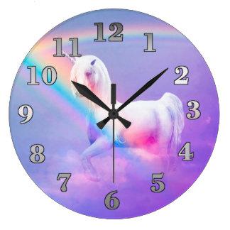 Grande Horloge Ronde Licorne et arc-en-ciel