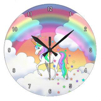Grande Horloge Ronde Licorne et étoiles colorées d'arc-en-ciel