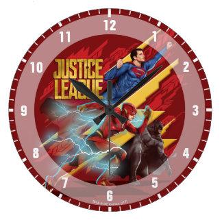Grande Horloge Ronde Ligue de justice | Superman, éclair, et insigne de