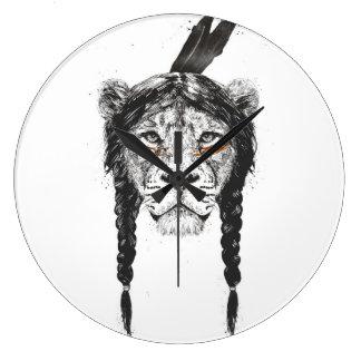 Grande Horloge Ronde Lion de guerrier