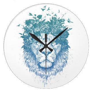 Grande Horloge Ronde Lion floral