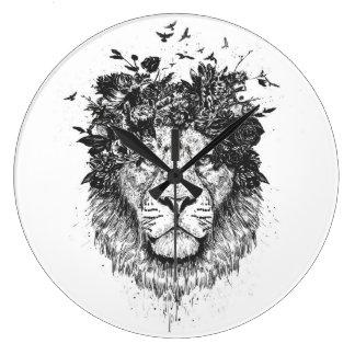 Grande Horloge Ronde Lion floral (noir et blanc)