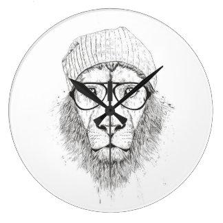 Grande Horloge Ronde Lion frais (noir et blanc)