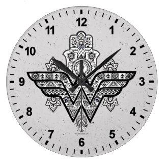 Grande Horloge Ronde Logo spirituel de Paisley Hamsa de femme de