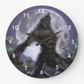 Grande Horloge Ronde Loup-garou hurlant à la lune