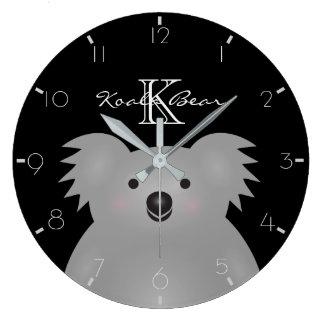Grande Horloge Ronde L'ours de koala australien mignon ajoutent votre