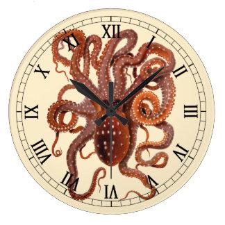 Grande Horloge Ronde Macropus vintage de poulpe, animaux aquatiques