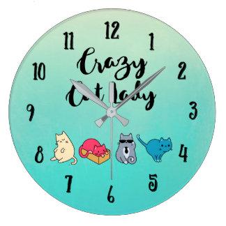 Grande Horloge Ronde Madame folle de chat et 4 chats mignons