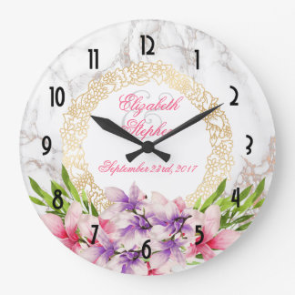 Grande Horloge Ronde Magnolias d'aquarelle, mariage de marbre de
