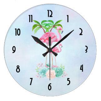 Grande Horloge Ronde Mamans et bébé roses de flamant avec des palmiers