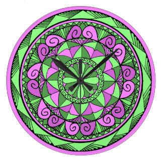 Grande Horloge Ronde Mandala d'indigo