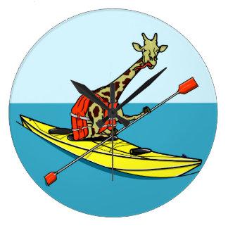 Grande Horloge Ronde Mer drôle de girafe kayaking