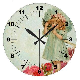 Grande Horloge Ronde Minou vintage d'enfant