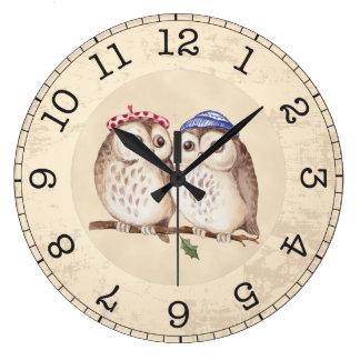 Grande Horloge Ronde Monogramme vintage de hiboux d'aquarelle