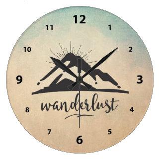Grande Horloge Ronde Montagne avec des Sunrays - typographie d'envie de