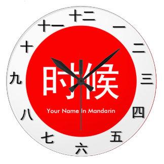 Grande Horloge Ronde Morceau de temps de mandarine