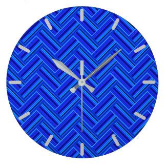 Grande Horloge Ronde Motif d'armure de double de rayures bleues