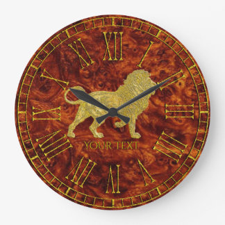 Grande Horloge Ronde Motif de Burlwood de lion d'or
