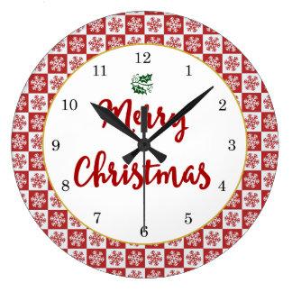 Grande Horloge Ronde Motif de flocon de neige de Noël rouge et blanc