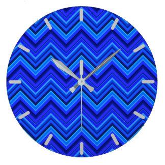 Grande Horloge Ronde Motif de zigzag de rayures bleues