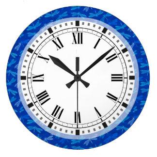 Grande Horloge Ronde Motif décoratif de libellule de bleu royal