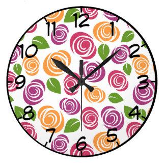 Grande Horloge Ronde Motif floral de beau rose de remous