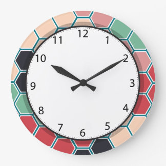 Grande Horloge Ronde Motif moderne coloré d'hexagone