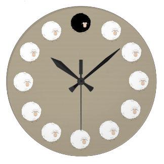 Grande Horloge Ronde Moutons noirs